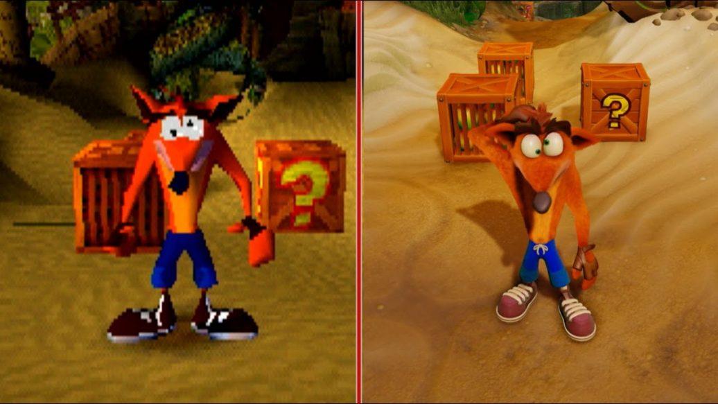 crash bandicoot graphics comparison ps1 vs ps4 pro