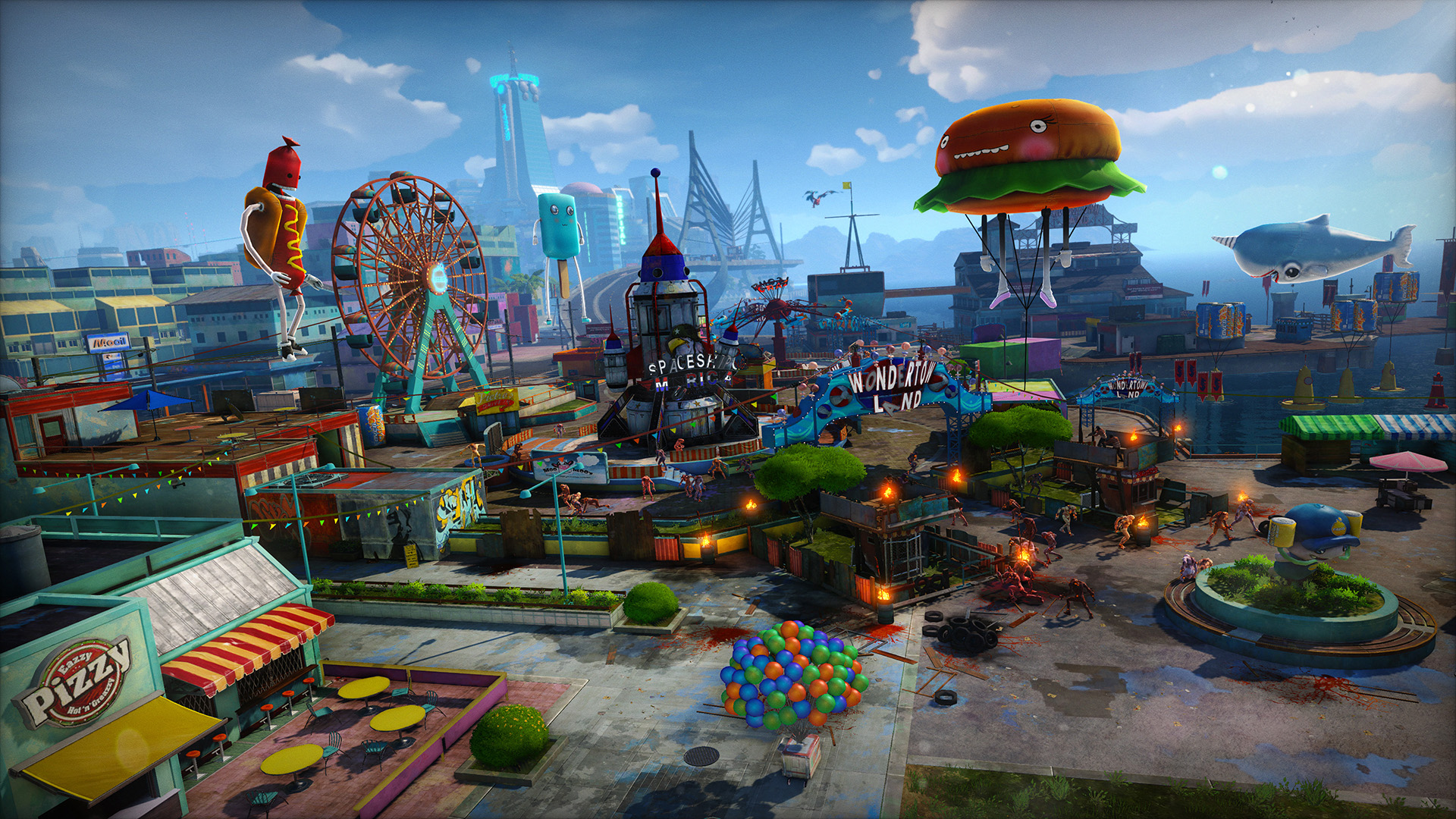 Artistry in Games sunset-overdrive-wondertown-environment E3 - Reintroducing Gamers To Colors Features  e3 Colors In Art